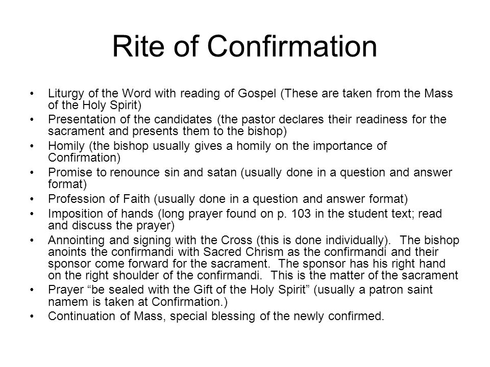 Rite of Confirmation Liturgy of the Word with reading of Gospel (These are taken from the Mass of the Holy Spirit)