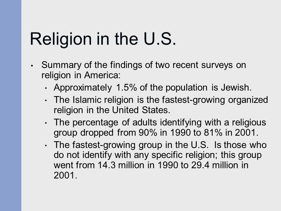 Religion in the U.S. Summary of the findings of two recent surveys on religion in America: Approximately 1.5% of the population is Jewish.