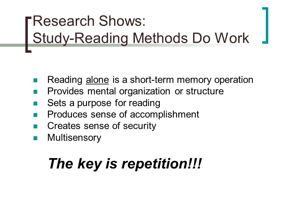 Research Shows: Study-Reading Methods Do Work