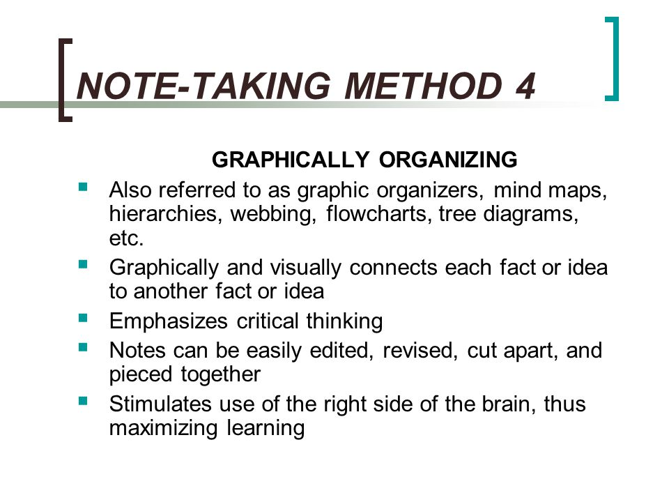 NOTE-TAKING METHOD 4 GRAPHICALLY ORGANIZING
