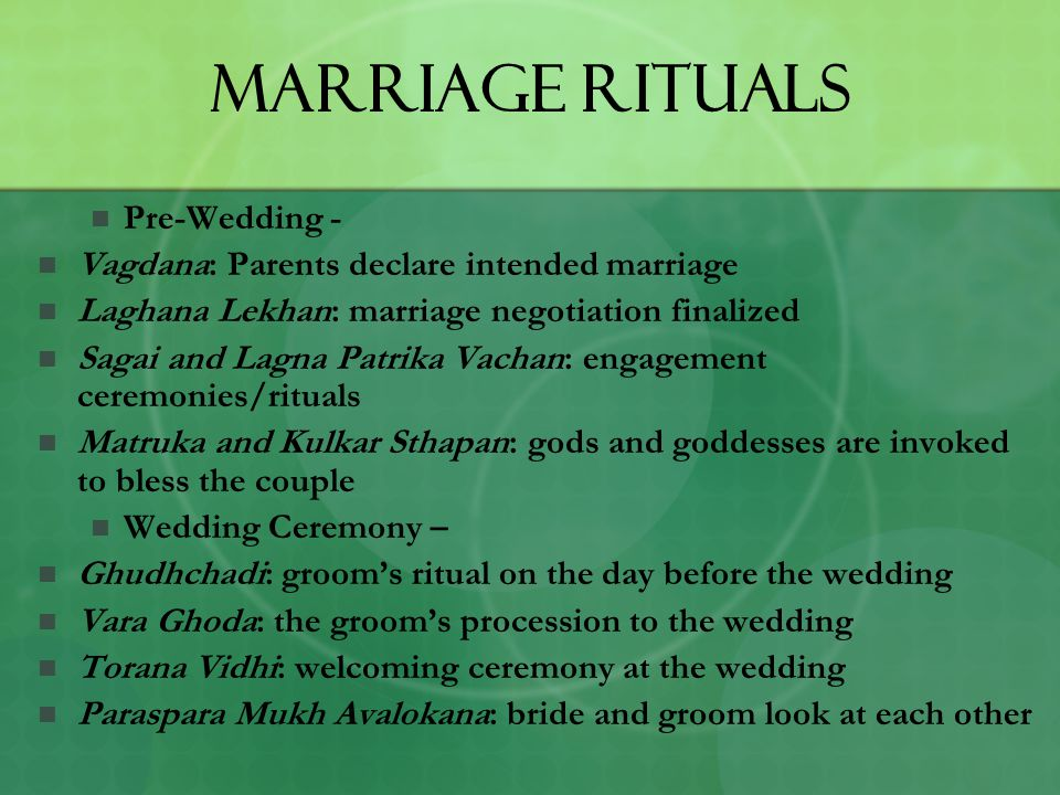 Marriage Rituals Pre-Wedding -