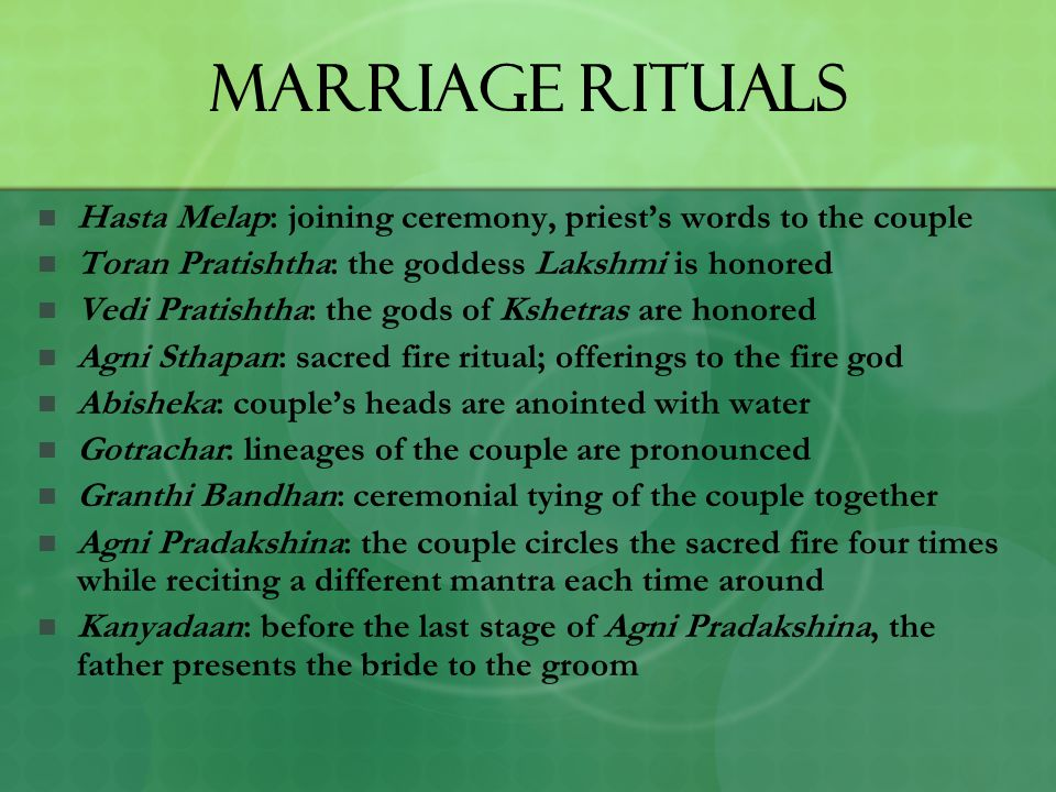 Marriage Rituals Hasta Melap: joining ceremony, priest's words to the couple. Toran Pratishtha: the goddess Lakshmi is honored.