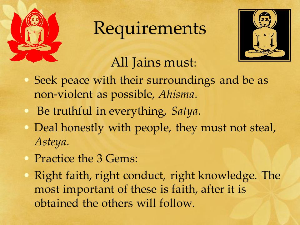 Requirements All Jains must: