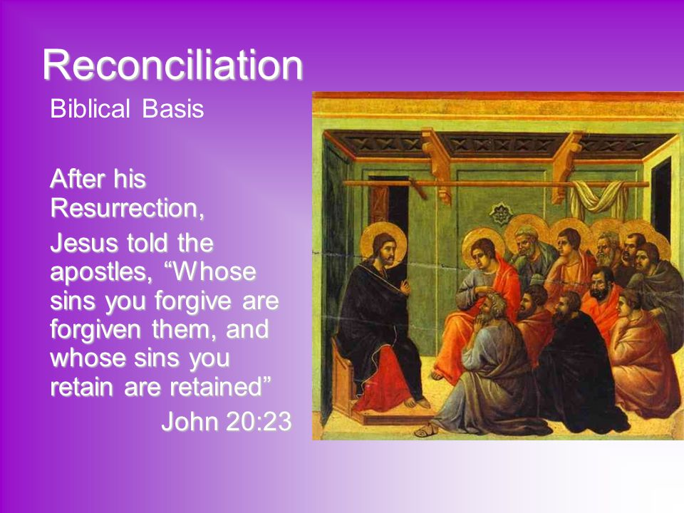 Reconciliation Biblical Basis After his Resurrection,