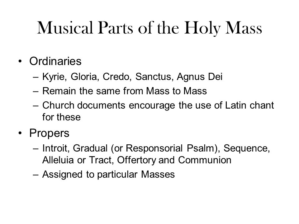 Musical Parts of the Holy Mass