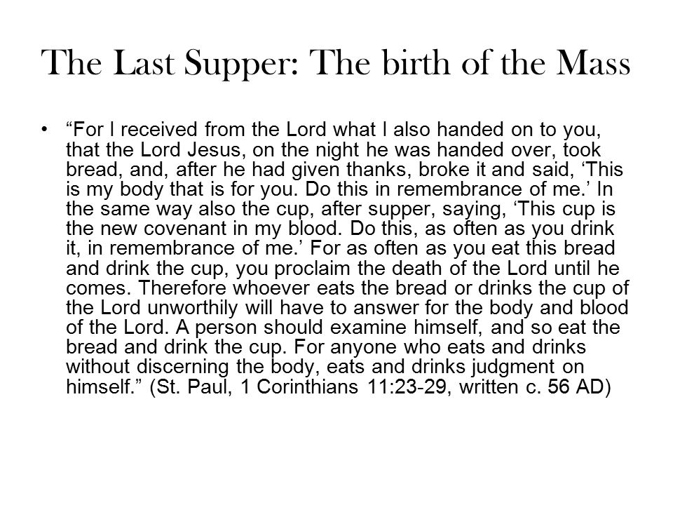 The Last Supper: The birth of the Mass