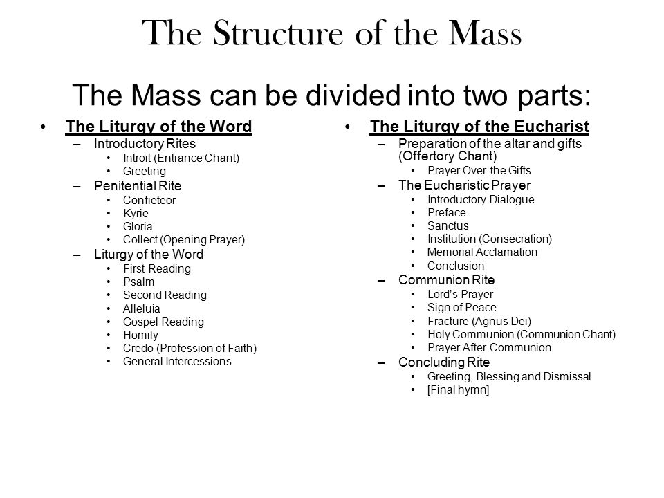 The Structure of the Mass The Mass can be divided into two parts:
