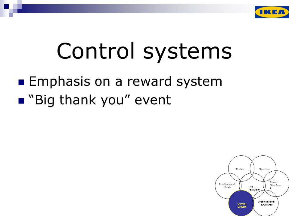 Control systems Emphasis on a reward system Big thank you event
