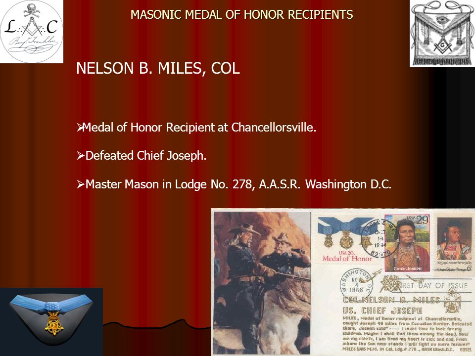 MASONIC MEDAL OF HONOR RECIPIENTS
