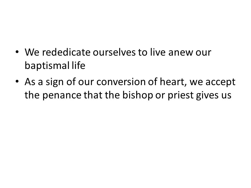We rededicate ourselves to live anew our baptismal life