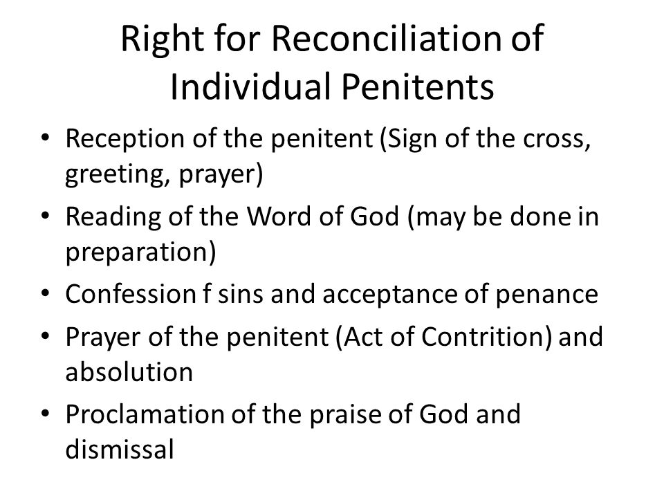 Right for Reconciliation of Individual Penitents