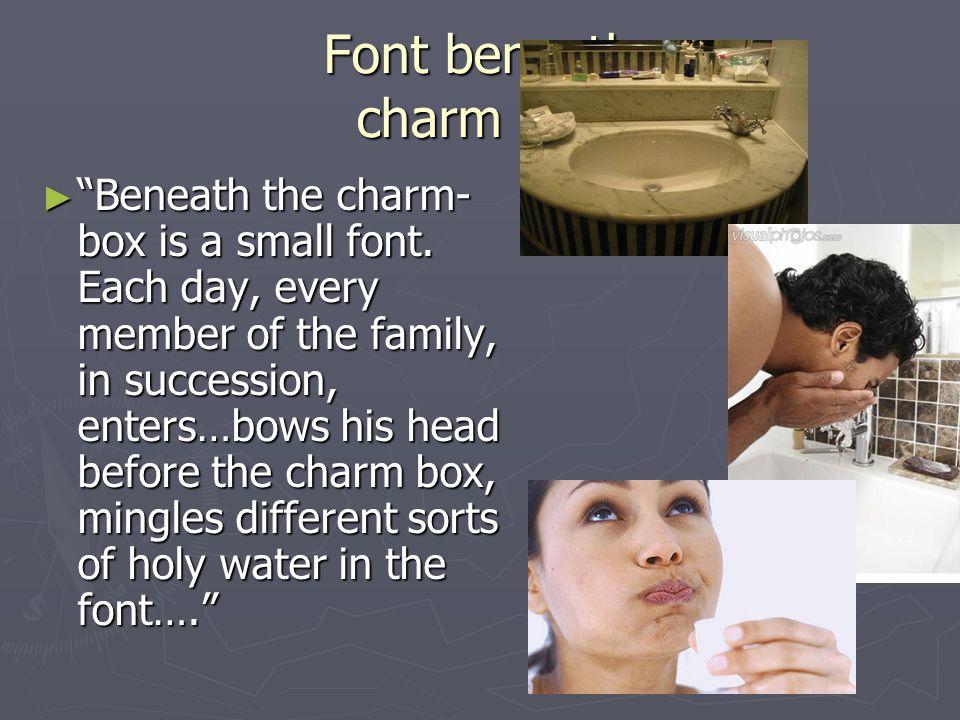 Font beneath charm box