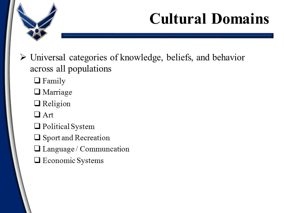 Cultural Domains Universal categories of knowledge, beliefs, and behavior across all populations. Family.