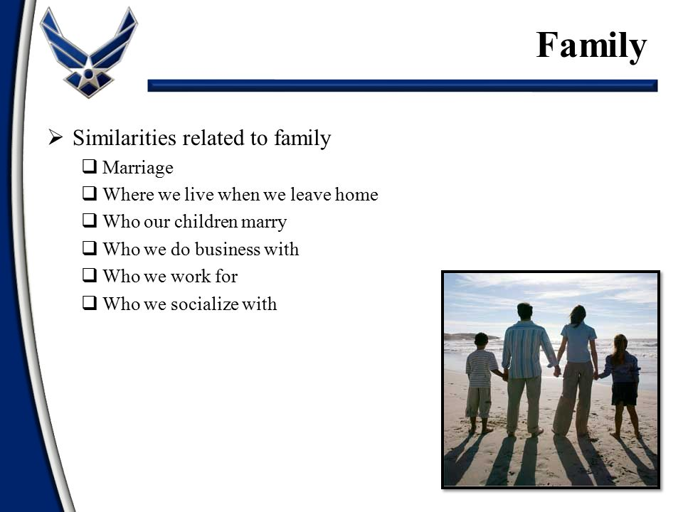 Family Similarities related to family Marriage