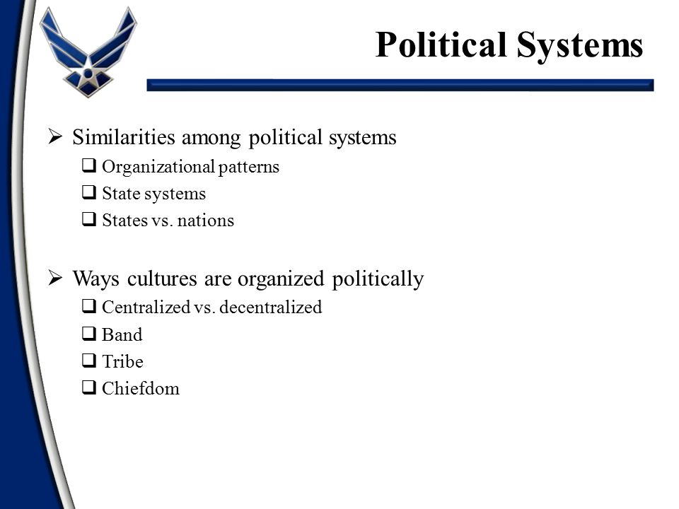 Political Systems Similarities among political systems