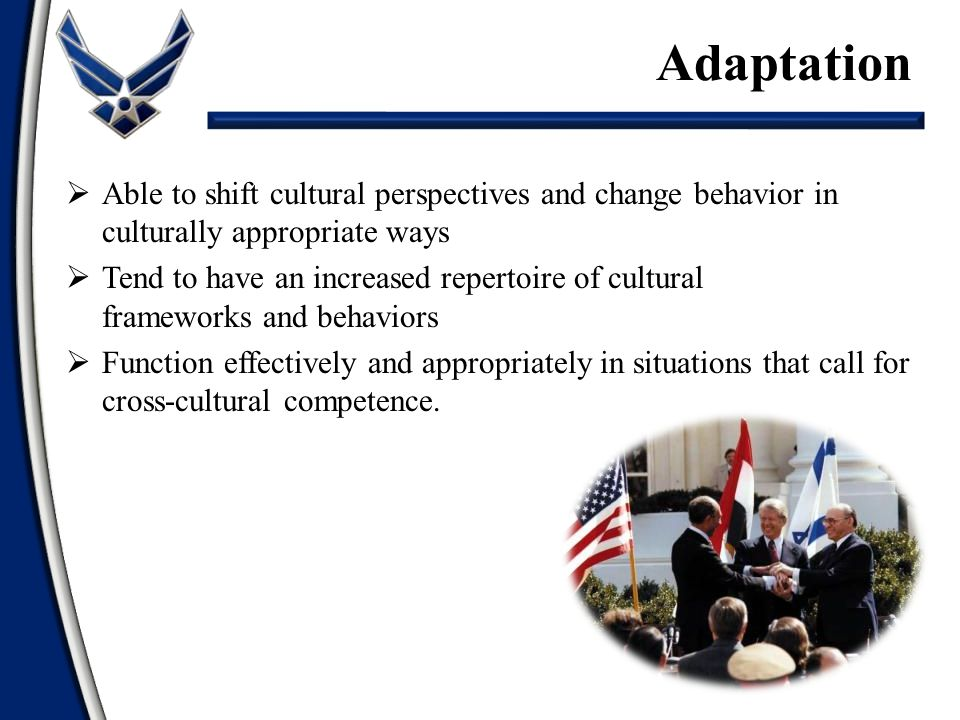 Adaptation Able to shift cultural perspectives and change behavior in culturally appropriate ways.