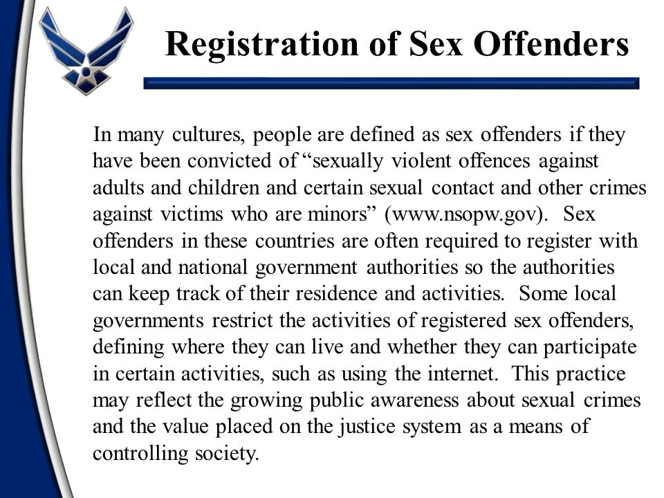 Registration of Sex Offenders
