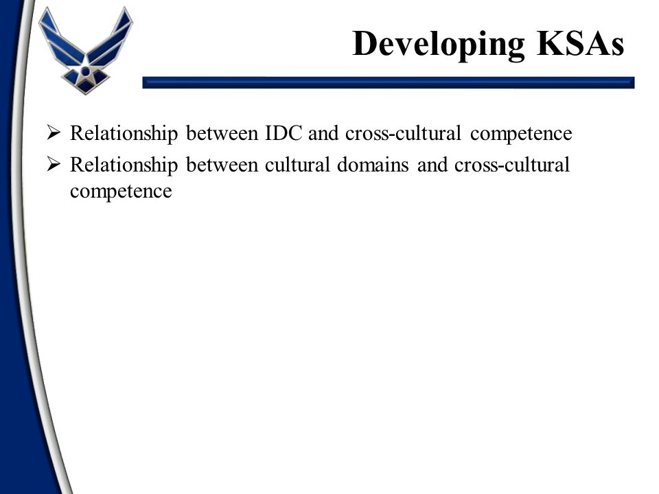 Developing KSAs Relationship between IDC and cross-cultural competence