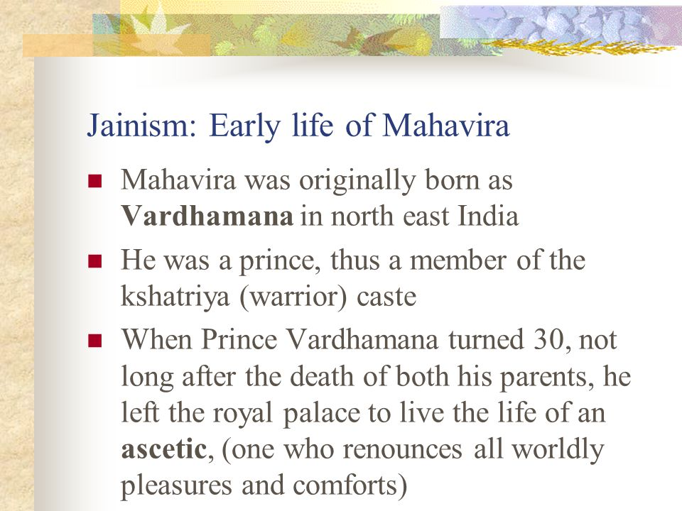 Jainism: Early life of Mahavira
