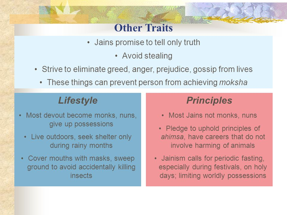Other Traits Lifestyle Principles Jains promise to tell only truth