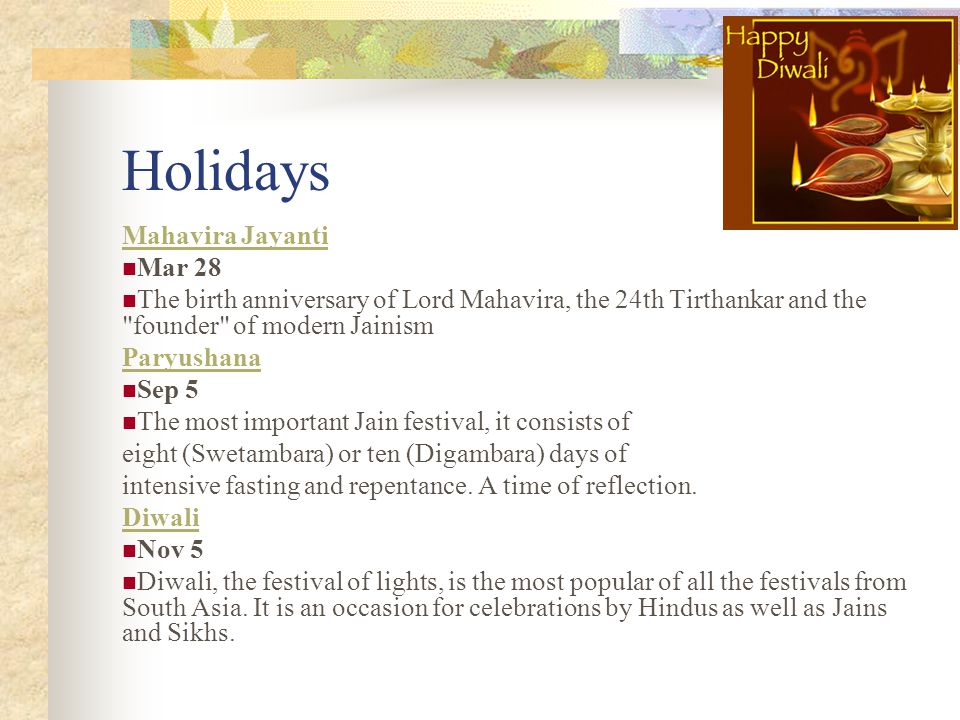 Holidays Mahavira Jayanti Mar 28