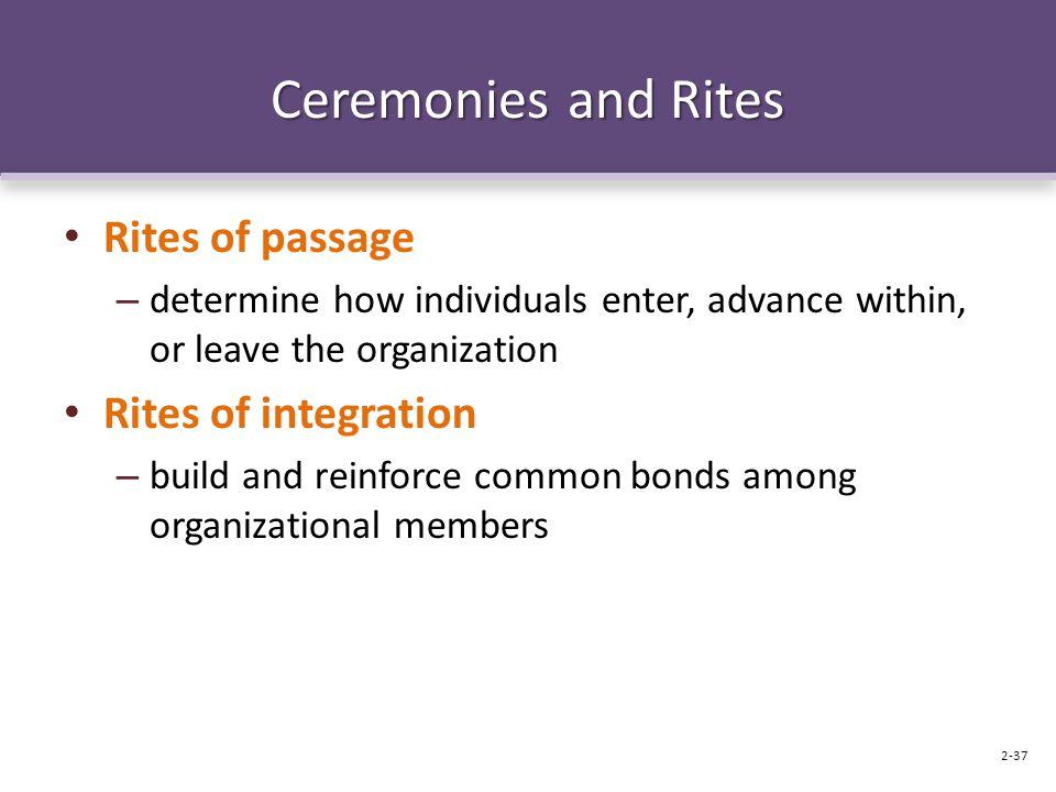 Ceremonies and Rites Rites of passage Rites of integration