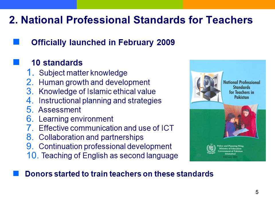 2. National Professional Standards for Teachers