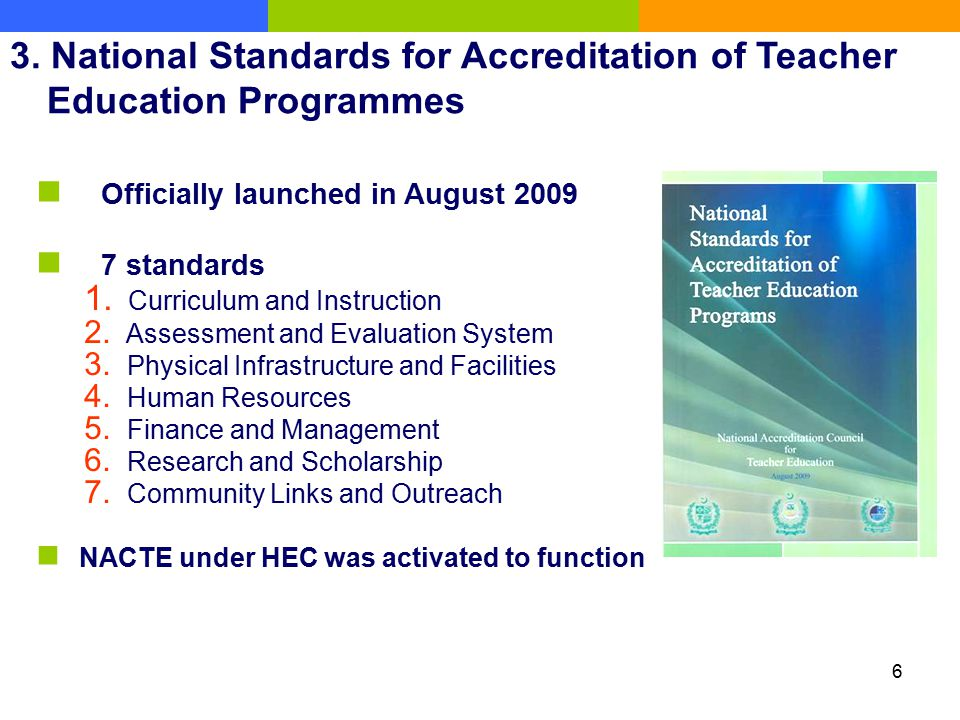3. National Standards for Accreditation of Teacher Education Programmes