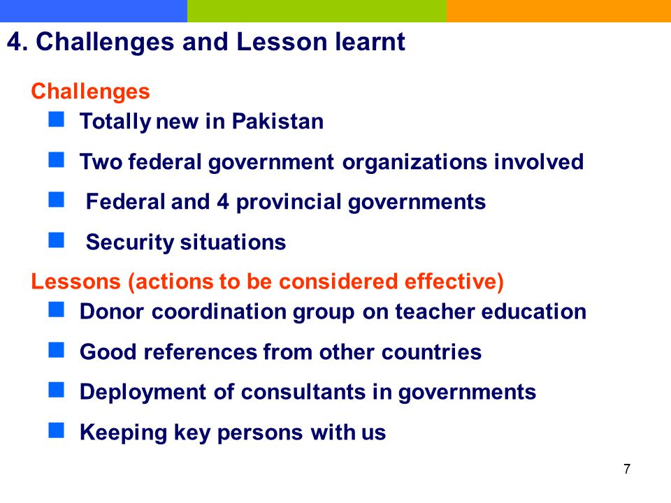 4. Challenges and Lesson learnt