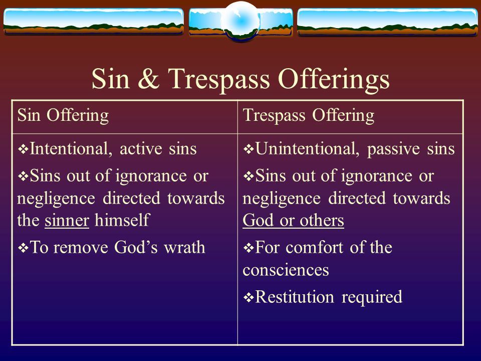 Sin & Trespass Offerings