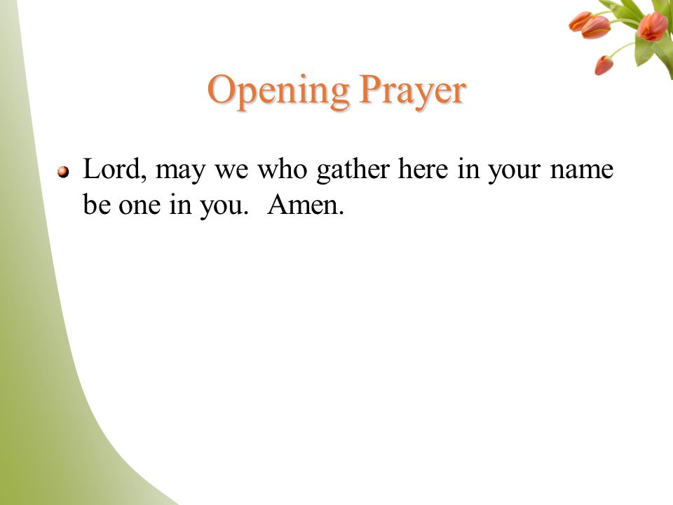 Opening Prayer Lord, may we who gather here in your name be one in you. Amen.