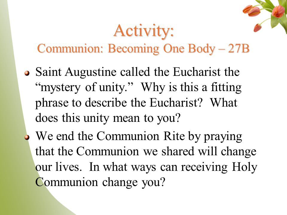 Activity: Communion: Becoming One Body – 27B