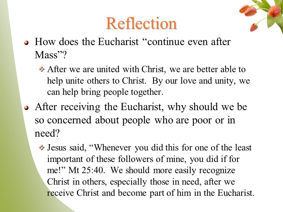 Reflection How does the Eucharist continue even after Mass