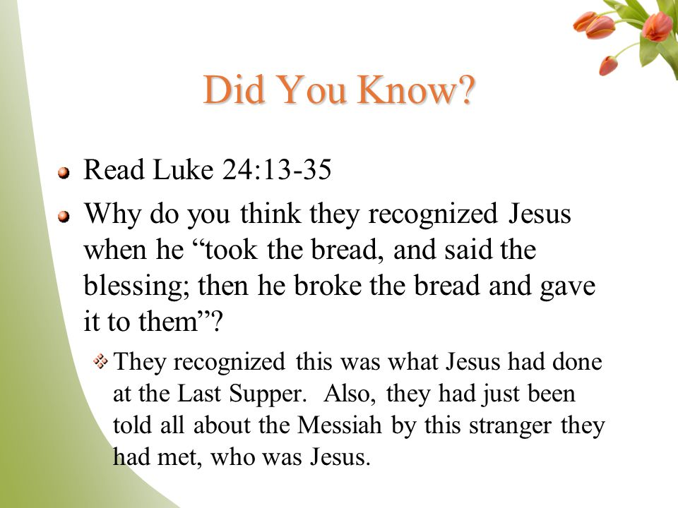 Did You Know Read Luke 24:13-35