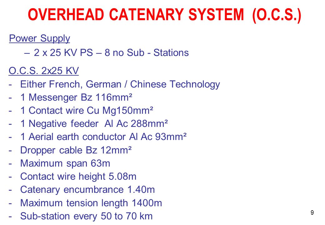 OVERHEAD CATENARY SYSTEM (O.C.S.)