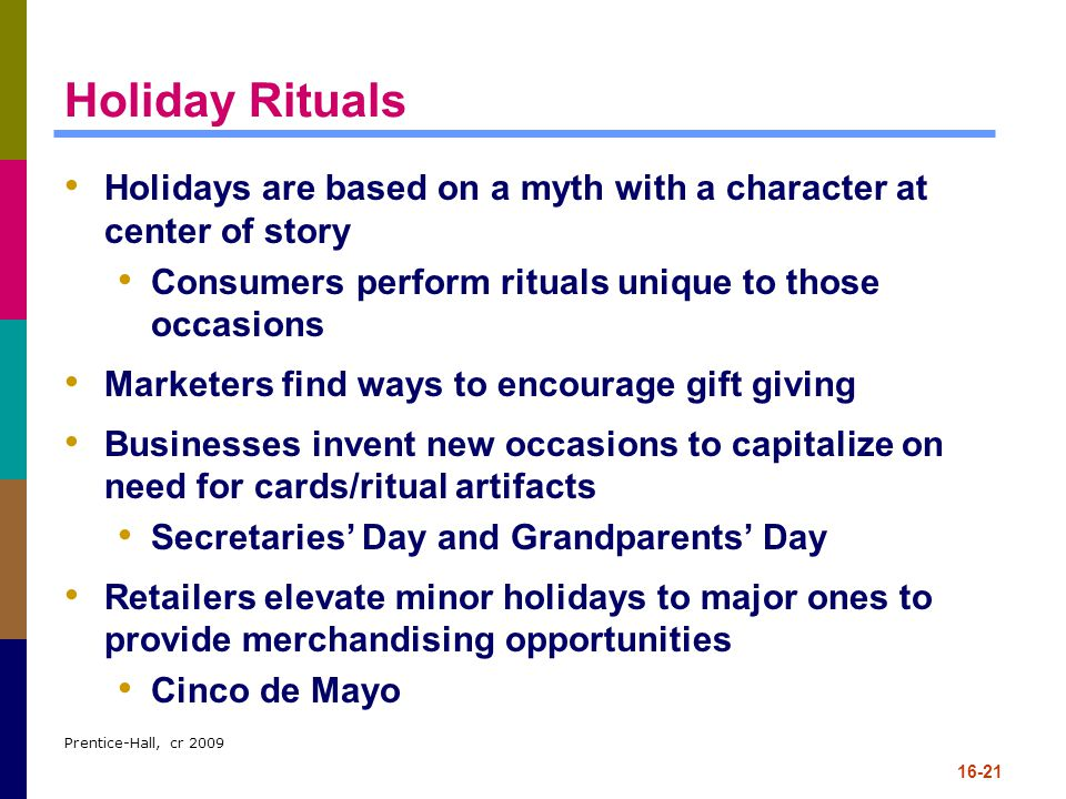 Holiday Rituals Holidays are based on a myth with a character at center of story. Consumers perform rituals unique to those occasions.