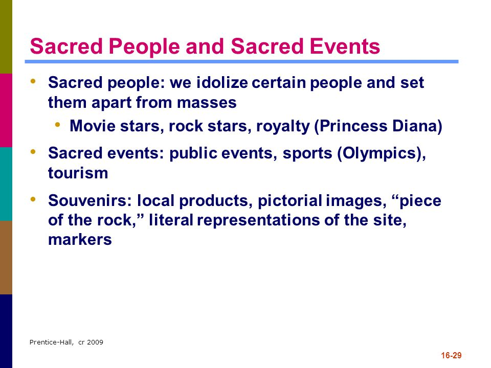 Sacred People and Sacred Events
