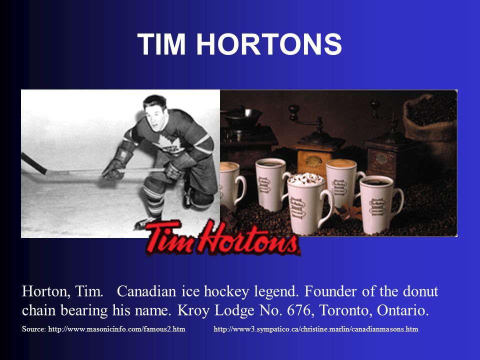 TIM HORTONS Horton, Tim. Canadian ice hockey legend. Founder of the donut chain bearing his name. Kroy Lodge No. 676, Toronto, Ontario.