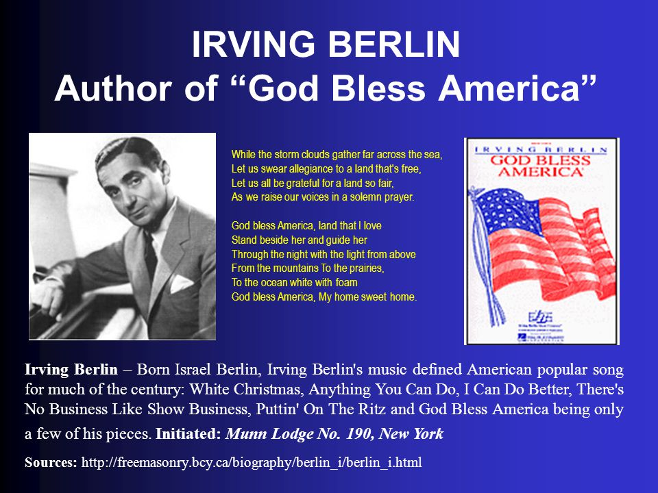 IRVING BERLIN Author of God Bless America