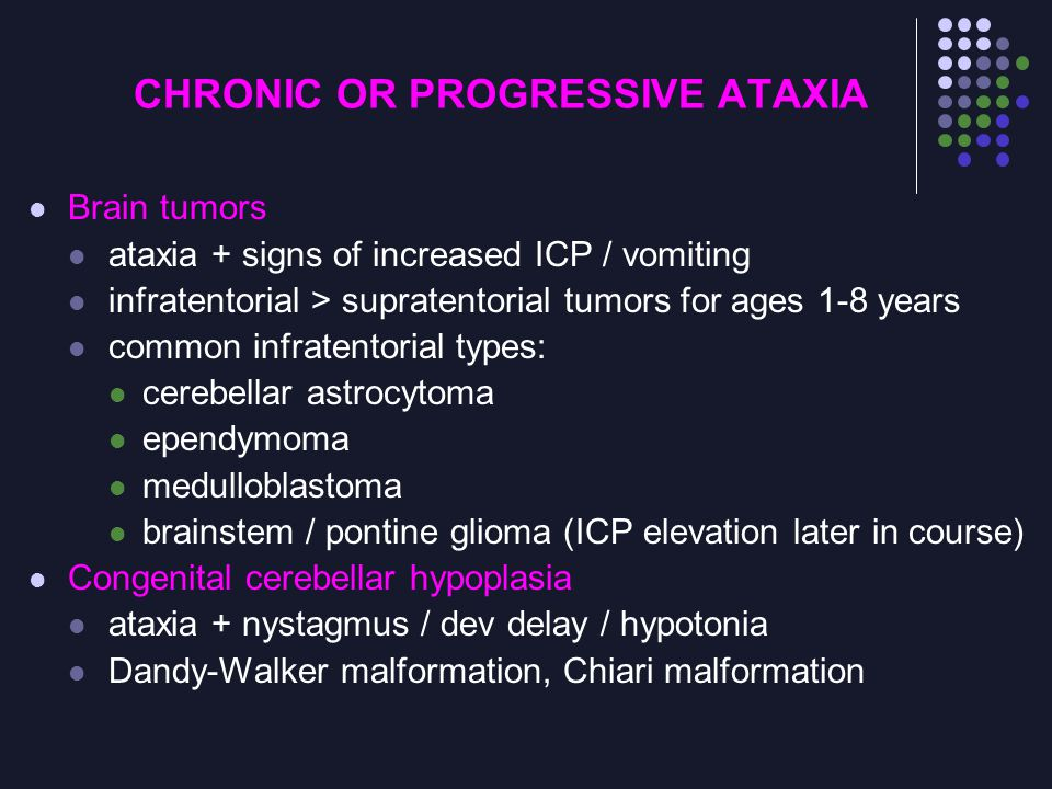 CHRONIC OR PROGRESSIVE ATAXIA