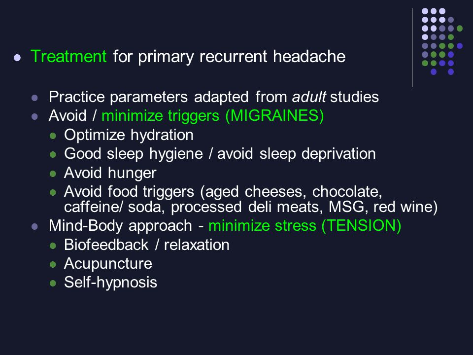 Treatment for primary recurrent headache