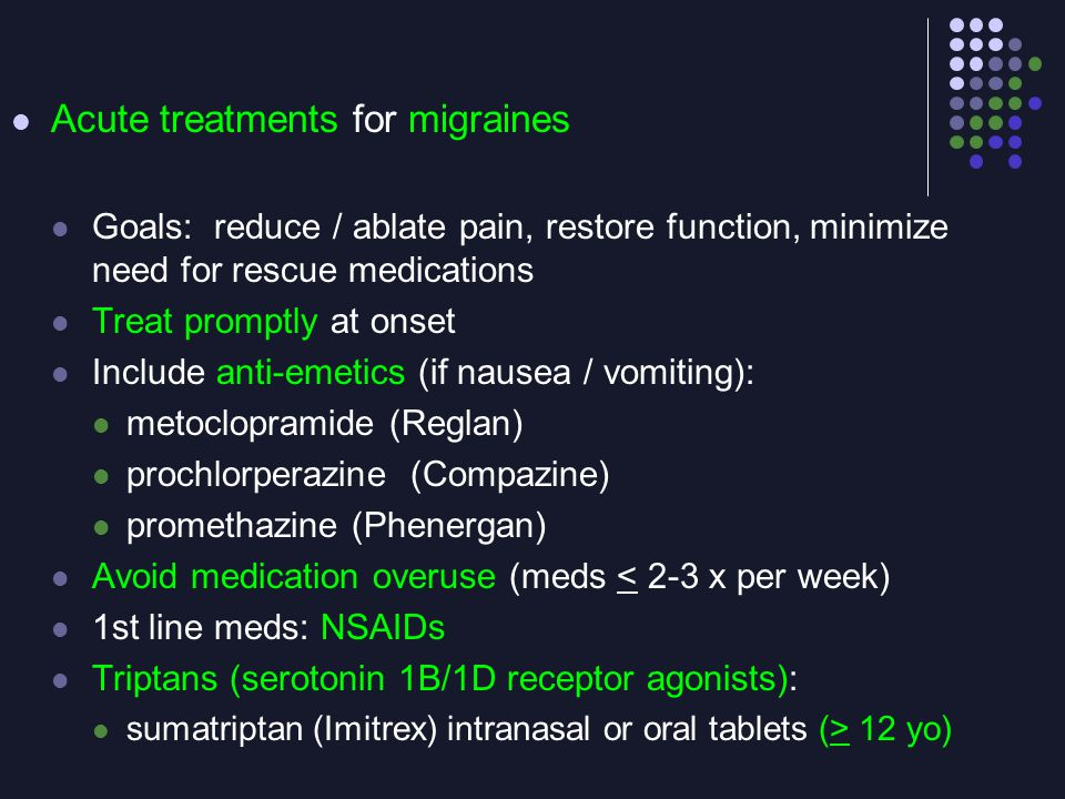 Acute treatments for migraines