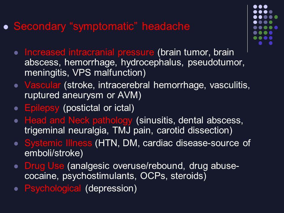 Secondary symptomatic headache