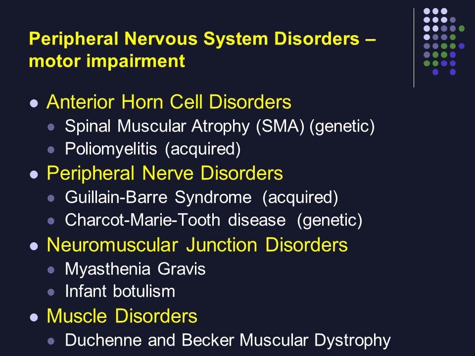 Peripheral Nervous System Disorders – motor impairment