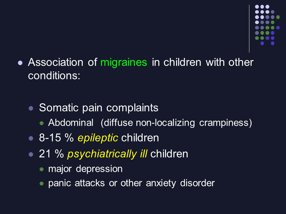 Association of migraines in children with other conditions: