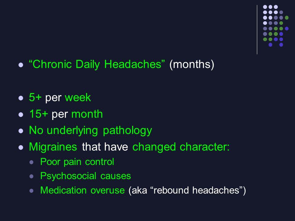 Chronic Daily Headaches (months) 5+ per week 15+ per month