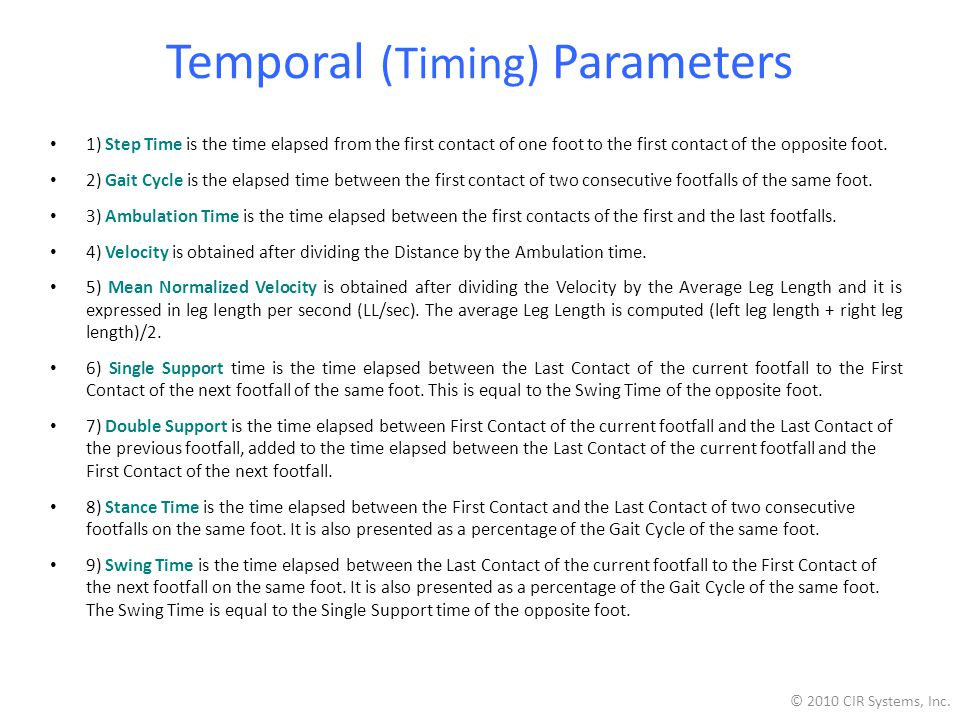Temporal (Timing) Parameters