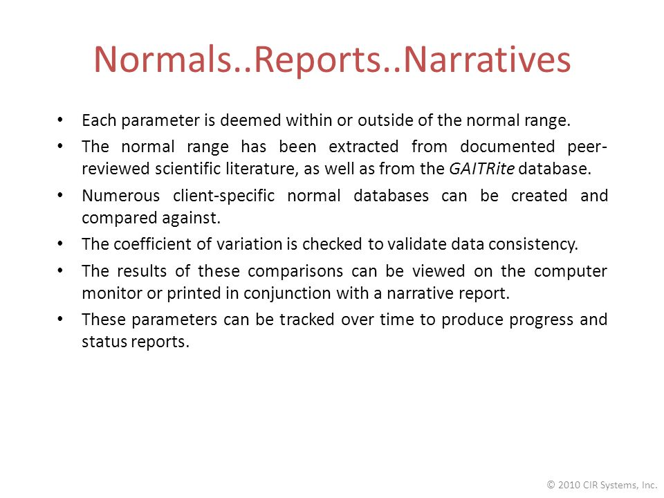 Normals..Reports..Narratives