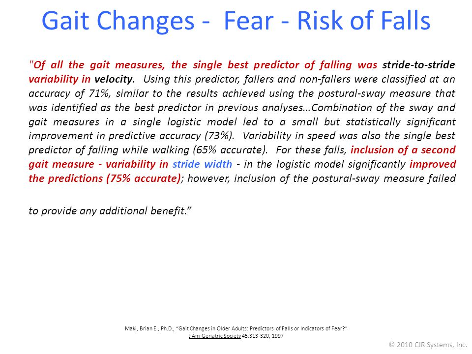 Gait Changes - Fear - Risk of Falls