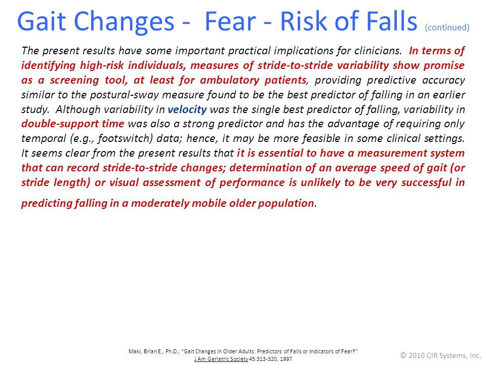 Gait Changes - Fear - Risk of Falls (continued)